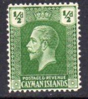 Cayman Islands GV 1921-6 ½d Grey-green, Wmk. Multiple Script CA, Hinged Mint, SG 70 - Cayman Islands
