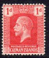 Cayman Islands GV 1921-6 1d Carmine-red, Wmk. Multiple Script CA, Hinged Mint, SG 71 - Cayman Islands