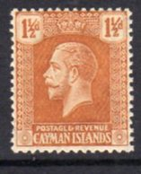 Cayman Islands GV 1921-6 1½d Orange-brown, Wmk. Multiple Script CA, Hinged Mint, SG 72 - Cayman Islands
