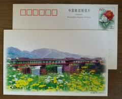 Rainhouse Bridge,China 2000 Chinese One Of The Most Beautiful Village Wuyuan Landscape Advertising Pre-stamped Card - Bruggen