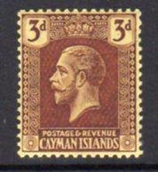 Cayman Islands GV 1921-6 3d Purple On Yellow Paper, Wmk. Multiple Script CA, Hinged Mint, SG 75 - Cayman Islands