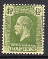 Cayman Islands GV 1921-6 4½d Sage-green, Wmk. Multiple Script CA, Hinged Mint, SG 76 - Cayman Islands