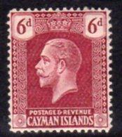 Cayman Islands GV 1921-6 6d Claret, Wmk. Multiple Script CA, Hinged Mint, SG 77 - Cayman Islands
