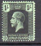 Cayman Islands GV 1921-6 1/- Black On Green Paper, Wmk. Multiple Script CA, Hinged Mint, SG 79 - Cayman Islands