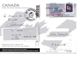 Entier Postal Du Canada En Poste Restante Pour La France Bitche 57 Moselle Tadoussac 02/10/2008 Flagge Leaf (Clas B) - Canada