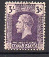 Cayman Islands GV 1921-6 3/- Violet, Wmk. Multiple Script CA, Used, SG 81 - Cayman Islands