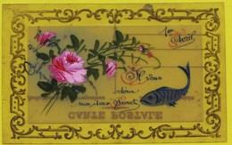 10644 - Matériaux Différents - CELLULOID  : 1 Er Avril , Poisson Et Roses Peints à La Main , Superbe, Circulée AQUARELLE - Cartes Postales