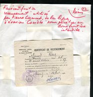 Résistance - Faux Certificat De Recensement Utilisé Par Pierre Camus ( Réseau Comète ) - Rare Document - Documents