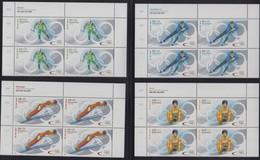 GERMANY 07.02.2002 BLOCKS OF 4 Mi # 2237-40, 2002 Salt Lake City Winter Olympics, MNH OG - Winter 2002: Salt Lake City
