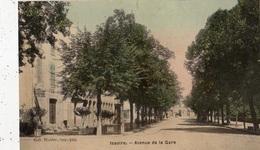 ISSOIRE AVENUE DE LA GARE (CARTE TOILE ET COLORISEE) - Issoire