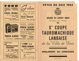 Règlement 21 X 13,5 Cm  Coupe Tauromachique Landaise Fêtes De Dax 1964 - Afiches