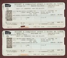2 BILLETS DE TRAIN - SNCF - TGV - Aller/retour = MASSY PALAISEAU / AVIGNON / MASSY PALAISEAU / - 3 Scannes - Chemins De Fer