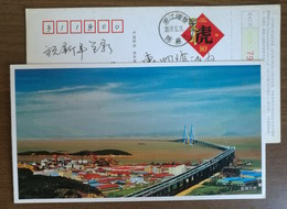 21 Km Sea Crossing Jintang Bridge,China 2010 Zhoushan Island-mainland Connecting Project Landscape Pre-stamped Card - Bridges