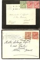Grande-Bretagne à France 1914/9 - 2 Faire-parts De Décès De Oxford - Adressés à Mlle Lefort à Cusset, Allier - France