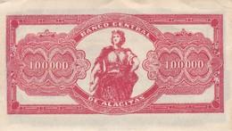 BANCO CENTRAL DE ALCITAS 100 000 BOLIVIANOS AÑO 1951 BILLETE BANKNOTE ORIGINAL- BLEUP - Bolivie