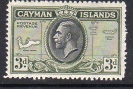 Cayman Islands GV 1935 3d Value, Map Of Islands, Hinged Mint, SG 102 - Cayman Islands