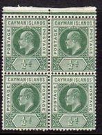 Cayman Islands KEVII 1907-8 ½d Green Block Of 4, Wmk. Multiple Crown CA, Hinged Mint/MNH, SG 25 - Cayman Islands