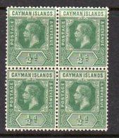 Cayman Islands GV 1912-20 ½d Green Block Of 4, Wmk. Multiple Crown CA, Hinged Mint/MNH, SG 41 - Cayman Islands