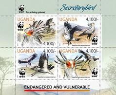UGANDA 2012 SHEET WWF SECRETARYBIRDS SECRETARY BIRDS OISEAUX ENDANGERED VULNERABLE Ugn12401a - Uganda (1962-...)