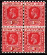 Cayman Islands GV 1912-20 1d Red Block Of 4, Wmk. Multiple Crown CA, Hinged Mint/MNH, SG 42 - Cayman Islands