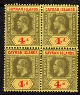 Cayman Islands GV 1912-20 4d Black & Red Block Of 4, Wmk. Multiple Crown CA, Hinged Mint/MNH, SG 46 - Cayman Islands