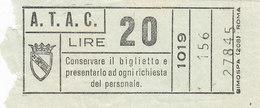 ROMA   /  A.T.A.C -  Biglietto Di Corsa Semplice  _  Lire 20 - Bus
