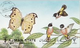 Aiman 1972 Farfalle Ed Uccelli Butterflies And Birds Foglietto Non Perforato Nuovo Preobliterato - Sparrows