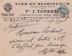 FRANCE  :  Type Blanc 5c Sur Lettre Vins Et Spiritueux Vve Tourrès CaD De Gap De 1903 - 1877-1920: Période Semi Moderne
