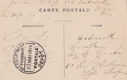 Cachet Du 99 ème Régiment D'Infanterie Dépot Franchise Postale  30 Mai 1916 Sur CP De  Vienne - Postmark Collection (Covers)