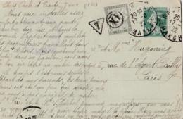 Taxe Banderole 20 Centimes Vert Sur Carte Postale - Lettres Taxées