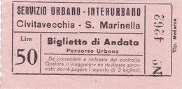 ROMA   /  Servizio Urbano - Interurbano -  Biglietto Civitavecchia - S. Marinella  _ Lire 50 - Autobus