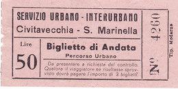 ROMA   /  Servizio Urbano - Interurbano -  Biglietto Civitavecchia - S. Marinella  _ Lire 50 - Bus