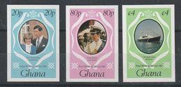 GHANA 1981 Royal Wedding CHARLES &  DIANA Imperforated  Mi.  Serie Cpl. 3v. Nuovi** - Ghana (1957-...)