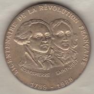 Medaille 1789 1989 Bicentenaire De La Révolution Française Robespierre – Saint Just - Zonder Classificatie