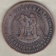 Medaille Souvenir Geneviève Fourey Née Le 2 Aout 1901 Et Baptisée Le 5 Janvier 1802, Fautée Au Niveau Des Dates - France