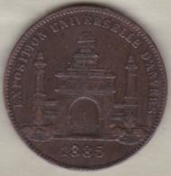 Medaille EXPOSITION UNIVERSELLE D'ANVERS 1885 ANTWERPEN, Par Wiener - Unclassified