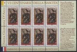 Vatican - Vaticane (2012) Yv. 1591 - MS   /  Joint With France - Jeanne D'Arc - Giovanna D'Arco - Gezamelijke Uitgaven