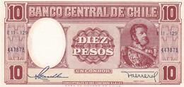 BANCO CENTRAL DE CHILE 10 PESOS UN CONDOR. M BULTES 1958- BLEUP - Chili