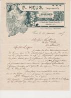 Lettre Commerciale Illustrée Art Nouveau /P.Heug , Impressario.( Théâtres , Concerts , Cirques ).PARIS Xè - France