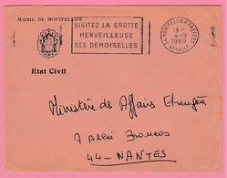 Fr13.   Mairie De Montpelier Etat Civil.  4.9.69 Visitez La Grotte Merveilleuse Des Demoiselles - Marcophilie (Lettres)