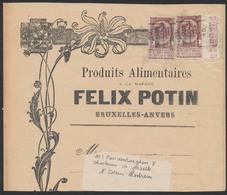 """Fine Barbe - N°55 X2 + BDF Numéroté Sur Bande Imprimé """"Felix Potin"""" Préo ANVERS 04 Vers St-Denis-Westrem - 1893-1900 Thin Beard"""