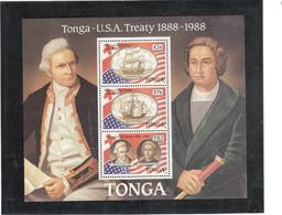 CV10 - TONGA Bloc Feuillet BF12** MNH De 1988 - RESOLUTION - SANTA MARIA -  J.COOK - C. COLOMB - - Tonga (1970-...)