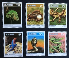 Zaire Congo 1980; Animals & Fauna; Reptiles, Snakes, Vipers; MNH, Neuf**, Postfrisch; - Zaire