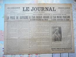 Le Journal Edition De Paris Dimanche 18 Mars 1917 N°8939 Le Tsar Nicolas Abdique /Démission Du Cabinet Briand - Livres, BD, Revues