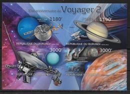 BURUNDI  Feuillet  ( 2012 ) * *  NON DENTELE Espace Astronomie Voyager 2 - Astronomie
