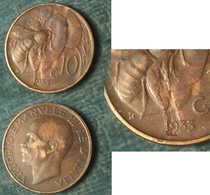 M_p> CURIOSITA' Regno Vitt Eman III° 10 Centesimi 1933 APE - Mancanza Metallo Al R/ Zona Della Data - 1861-1946 : Regno