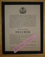 FAIRE-PART DECES 1877 DELEMER HIE MEERSCH CHARVET SALOME HUWETTE CHATILIEZ Lille - Décès