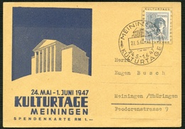 SBZ 1947, SONDER-PK KULTURTAGE, NR. 947, SST MEININGEN, KULTURTAGE, SAMMLERBELEG - Zone Soviétique