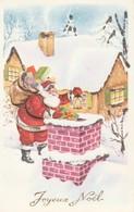 Joyeux Noël Père Noël Sur Le Toit (Carte Pailletée) - Autres
