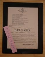 FAIRE-PART DECES 1898 DELEMER LENGLART DELEBART LEFEBVRE BOCQUET TRIPIER Lille - Décès